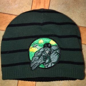 Reversible The Incredible Hulk Striped Beanie EUC